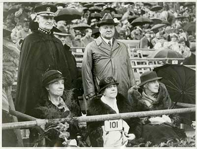 Herbert and Lou Henry Hoover at the Rose Bowl, January, 1934.