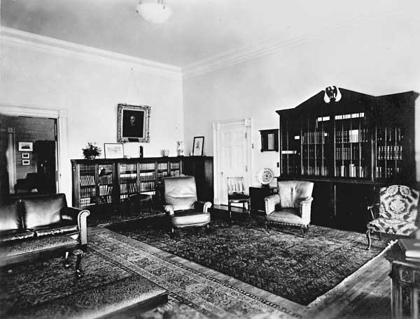 "Bookshelves in President Hoover's private study in the refurbished ""Lincoln Bedroom."""