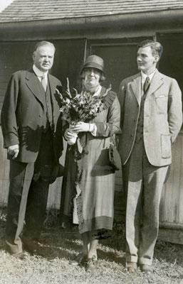 ca August 1928, Herbert, Lou and Allan Hoover in West Branch, Iowa.