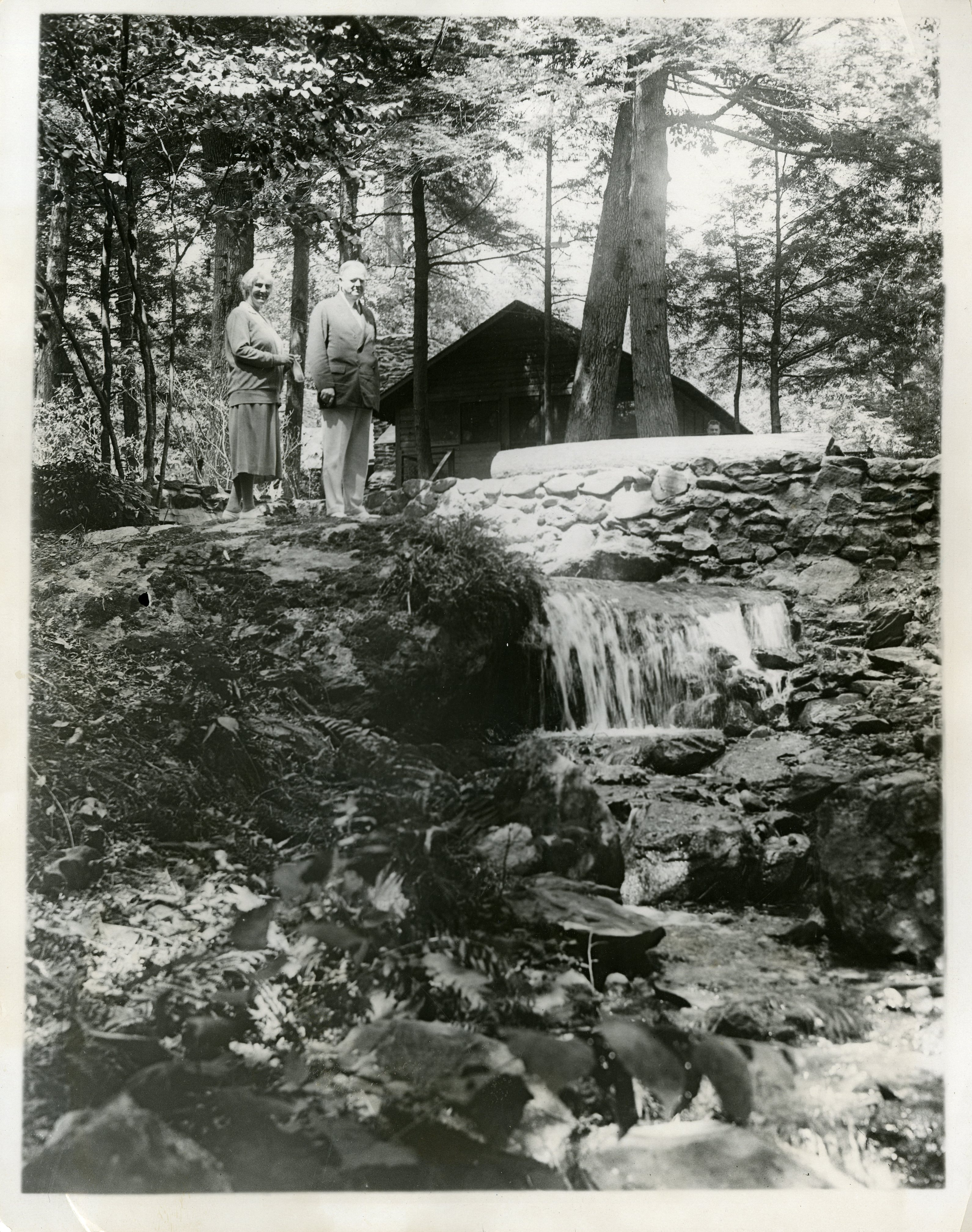 President and Mrs. Hoover visiting Camp Rapidan, the fishing lodge on the Rapidan River in Virginia. 08/02/1939