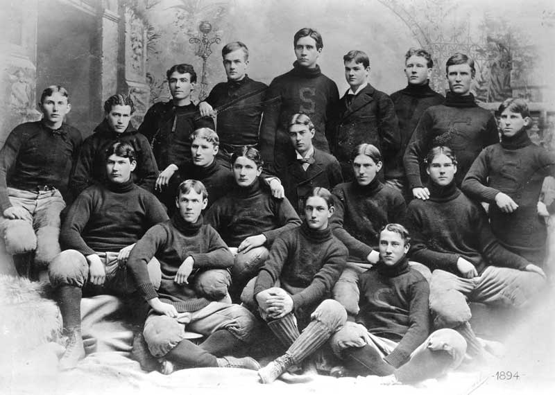 Stanford Football team, 1894, Herbert Hoover is in the coat and tie in the back row. He was the manager.