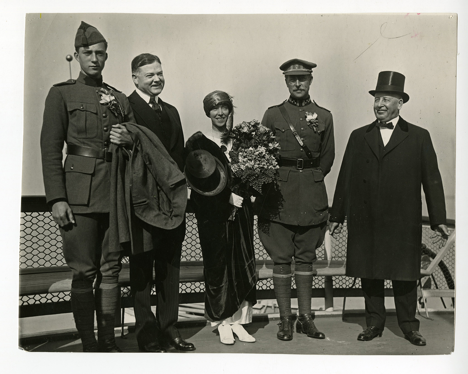Visit of King Albert of Belgium, Queen Elizabeth and Crown Prince Leopold to San Francisco on ferry boat crossing the bay with Herbert Hoover and Gov. William D. Stephens. ca. 1919
