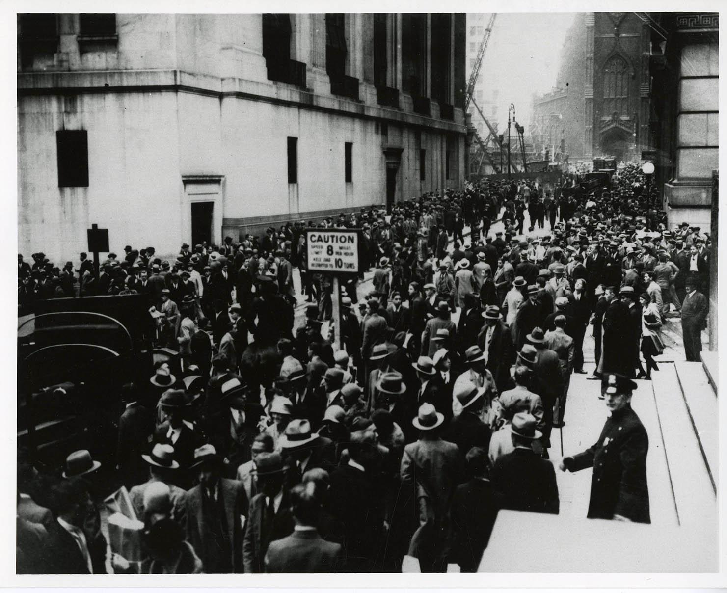 Wall Street, NY NY near the time of the stock market crash. ca. 1929.
