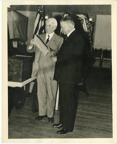 Herbert Hoover casting his ballot in Palo Alto, CA 11/8/1932