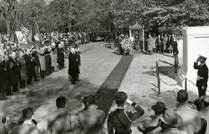 Herbert Hoover leading a Veterans Day observance at the tomb of the unknown soldier at the Arlington National Cemetary. 11/11/1955