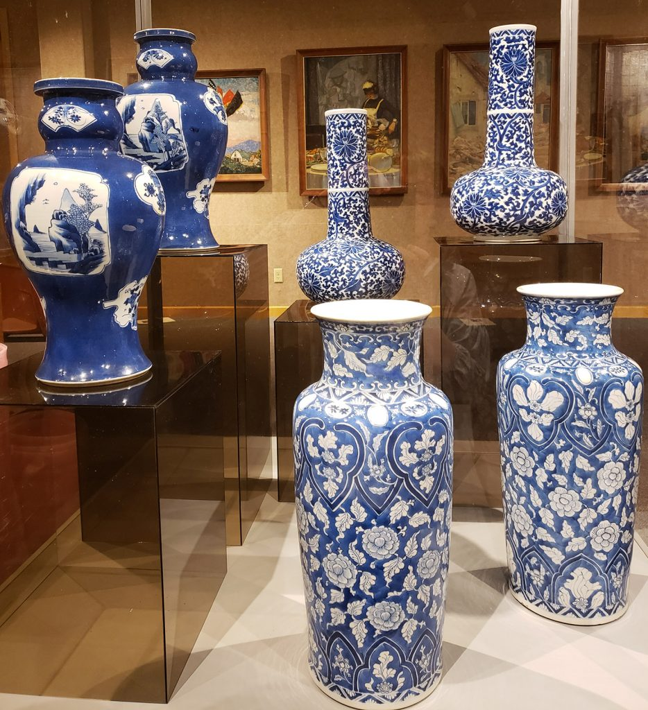 A collection of blue and white china pieces belonging to the Hoovers.