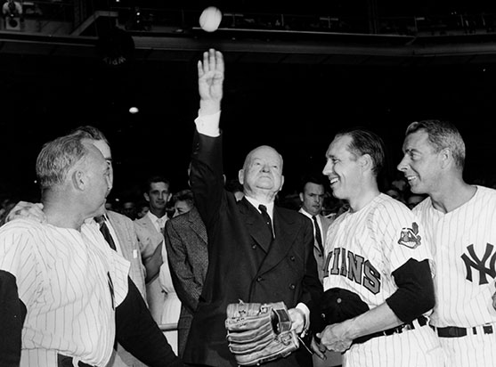 08/13/1960 Former President Hoover throws out the 1st ball at Old Timers game at Yankee Stadium. Red Rutting, Bob Feller and Joe DiMaggio.