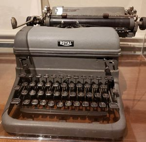 This Royal typewriter is on display at the Hoover Museum, it is typical of what Herbert Hoover would have used while living in the Waldorf-Astoria.