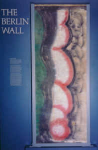 A piece of the Berlin Wall on display in the galleries at the Hoover Presidential Library and Museum.