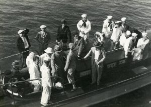 These journalists weren't late for the boat! Journalists preparing to board the USS Maryland from the barge - Good Will tour, 1928.