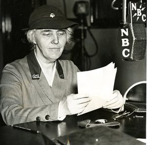 "1936 Lou Hoover, president of the Girl Scouts, giving a national speech over the radio on ""What does the future hold in store for our daughters."""
