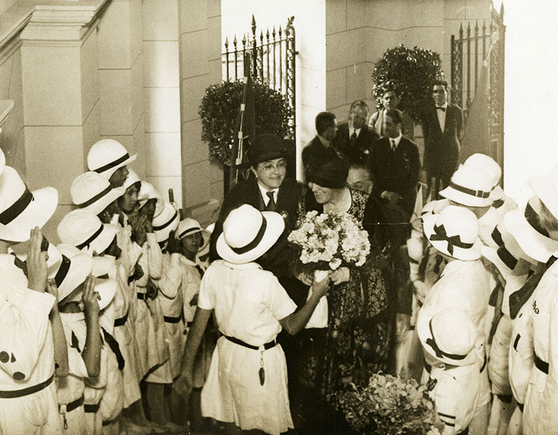 1928 South American Good Will Tour - Lou Hoover meets with Girl Scouts in Rio De Janerio, Brazil. ca. December 1928