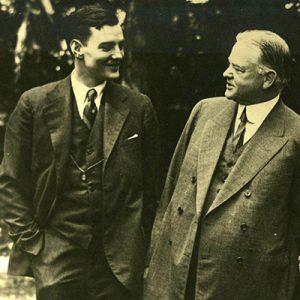Herbert Hoover with Herbert Hoover, Jr.  in the garden of their Washington DC home. 1928