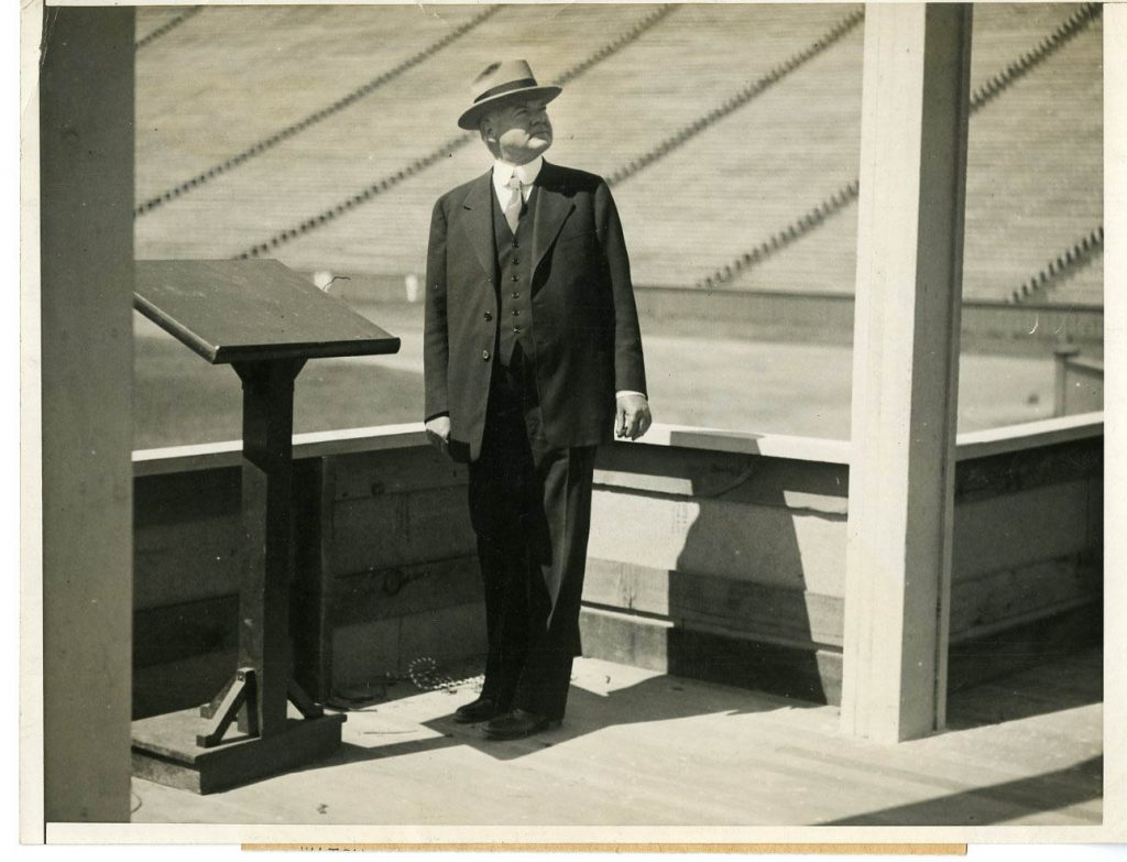 Herbert Hoover looking over the stands in Stanford Stadium where he delivered his acceptance speech for the Repbulican nomination, Aug. 11, 1928. 70,000 people attended.