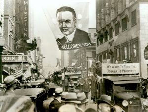 Sympathizers from all over Iowa demonstrate prior to President Hoover's arrival in Des Moines, IA,