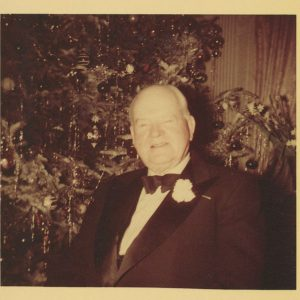 Former President Herbert Hoover celebrating the holidays in his Waldorf apartment.  ca. 1952